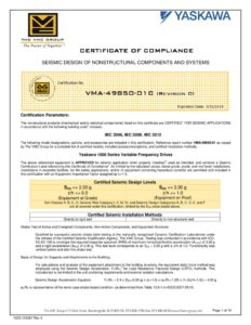 thumbnail of Yaskawa Z1000 Seismic Certificate of Compliance 3-6-15