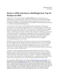 thumbnail of Halton_s HRU selected as a BuildingGreen Top 10 Product for 2010