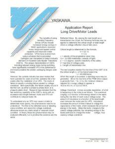 thumbnail of Yaskawa Application Report – Long VFD Motor Leads 2006
