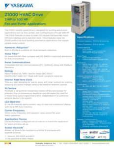 thumbnail of Yaskawa Z1000 HVAC flyer Pumps and Fans