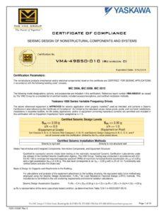 thumbnail of Yaskawa Z1000 Seismic Certificate of Compliance 3-6-15